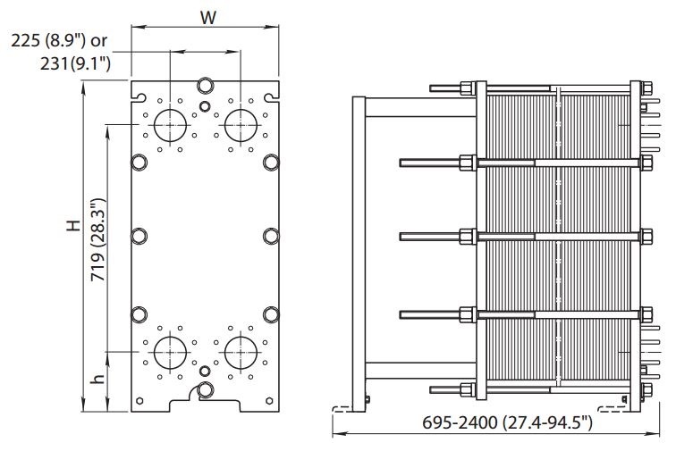 ALFA LAVAL, IndustrialLine HEAT EXCHANGER, M10 W drawing