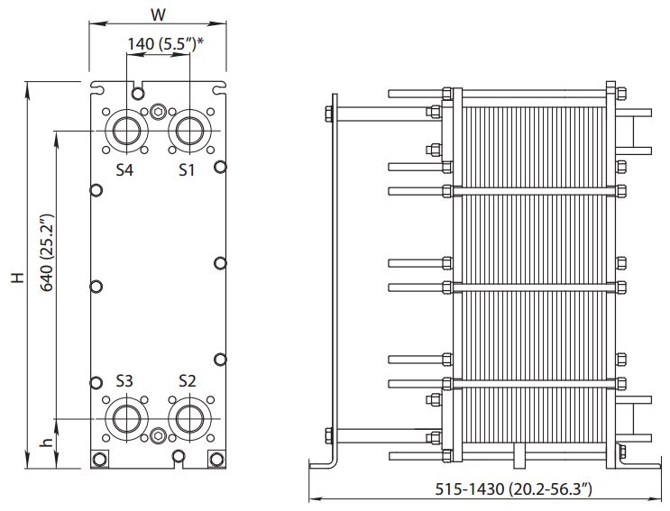 ALFA LAVAL, IndustrialLine HEAT EXCHANGER, M6 W drawing