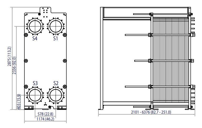 ALFA LAVAL, IndustrialLine HEAT EXCHANGER, T35 drawing