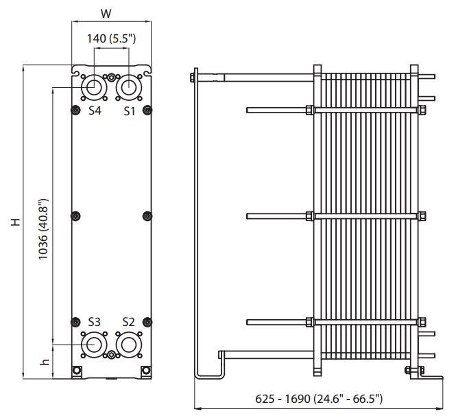 ALFA LAVAL, IndustrialLine HEAT EXCHANGER, TL6 drawing