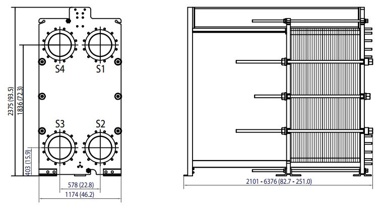 ALFA LAVAL, IndustrialLine HEAT EXCHANGER, TS35 drawing