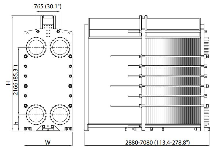 ALFA LAVAL, IndustrialLine HEAT EXCHANGER, TS50 drawing