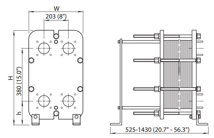 ALFA LAVAL, IndustrialLine HEAT EXCHANGER, TS6 drawing
