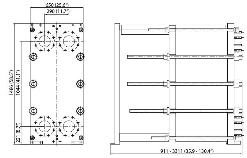 ALFA LAVAL, IndustrialLine HEAT EXCHANGER, MK15 W drawing