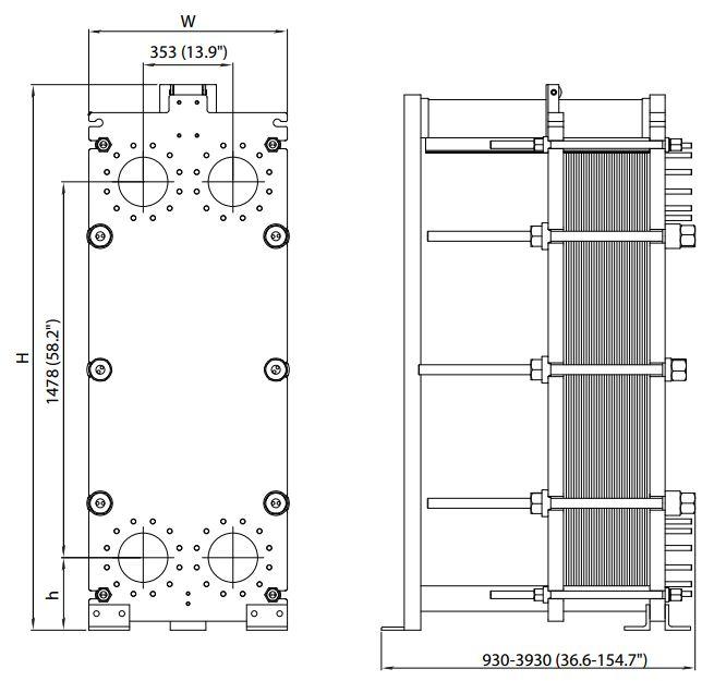 ALFA LAVAL, IndustrialLine HEAT EXCHANGER, T20 W drawing