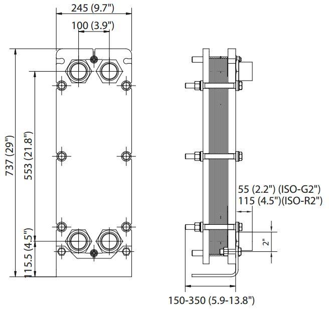 ALFA LAVAL, IndustrialLine HEAT EXCHANGER, T5 drawing