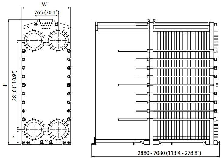 ALFA LAVAL, IndustrialLine HEAT EXCHANGER, T50 drawing